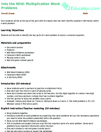 into the wild multiplication word problems lesson plan