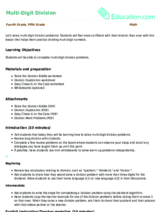 Mutlidigit Division Lesson Plan Education. Multidigit Division. Worksheet. Long Hand Division Worksheet At Mspartners.co