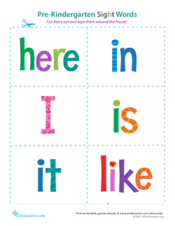 Pre-Kindergarten Sight Words: Here to Like