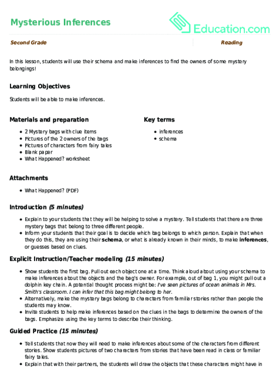 Mysterious Inferences Lesson Plan Lesson Plan – Inference Worksheets 2nd Grade
