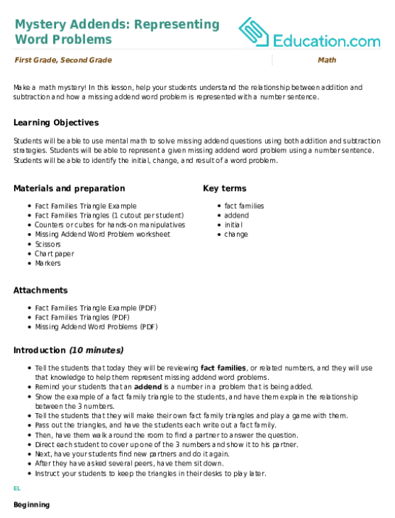Mystery Addends: Representing Word Problems | Lesson plan ...