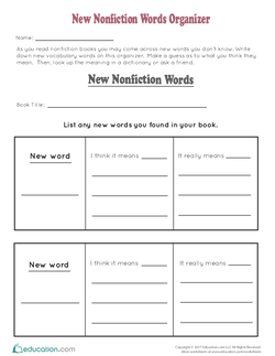 New Nonfiction Words Organizer