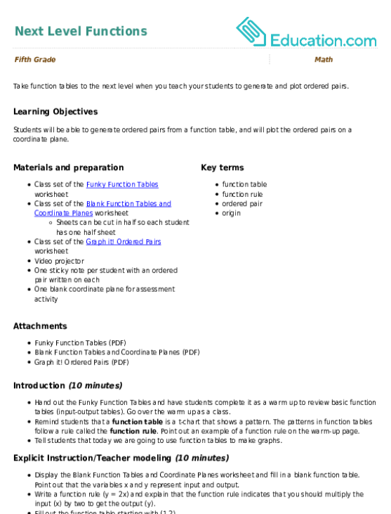 Graph It Ordered Pairs Worksheet Education