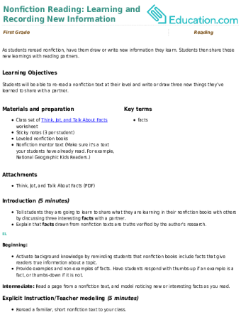 Lesson Plans For First Grade Reading Education