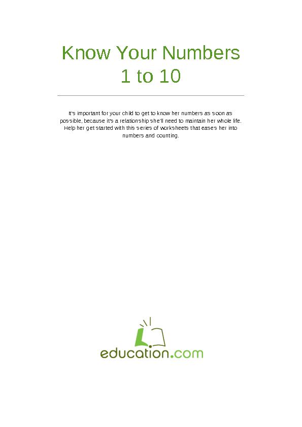 Printable Worksheets kindergarten number worksheets 1-10 : Number Recognition 1-10 | Lesson Plan | Education.com