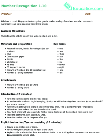 Beautiful Preschool. Lesson Plan. Number Recognition 1 10
