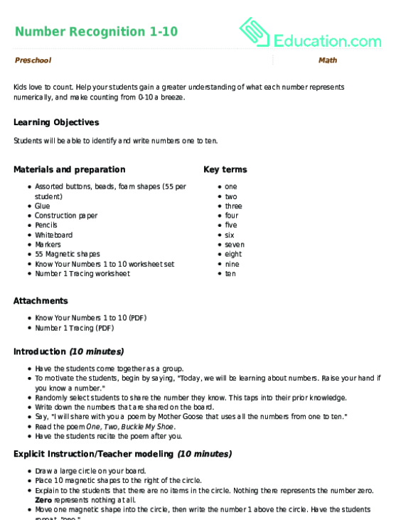 Number Recognition 1 10 Lesson Plan Education Lesson Plan