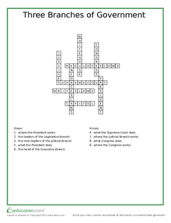 Three Branches of Government Crossword Key