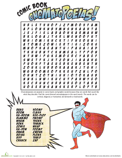 ONOMATOPOEIA worksheet and comic strip