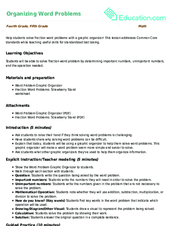Organizing Word Problems | Lesson plan | Education.com