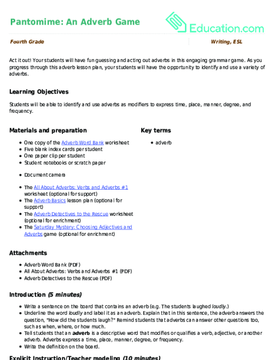 Pantomime An Adverb Game Lesson Plan Education
