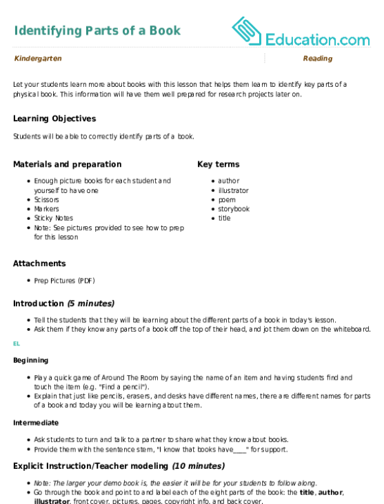 Identifying Parts Of A Book Lesson Plan Education Lesson