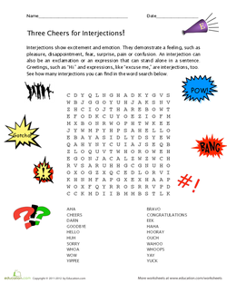 Interjections! Word Search