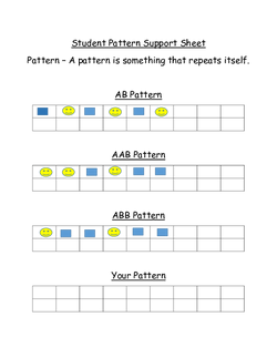 Student Pattern Support Sheet