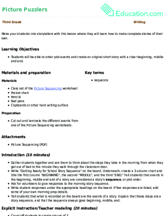 Picture Puzzlers Lesson Plan Education