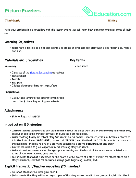 Picture Puzzlers Lesson Plan Lesson Plan – Beginning Middle and End Worksheets