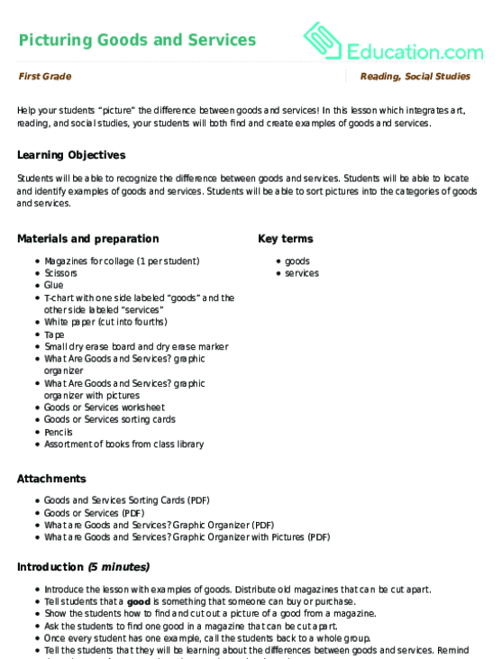 Picturing Goods And Services Lesson Plan Education. Picturing Goods And Services Lesson Plan. Worksheet. Goods And Services Worksheet For 2nd Grade At Mspartners.co