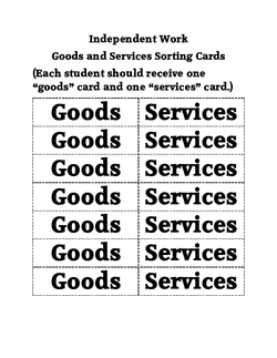 Goods and Services Sorting Cards
