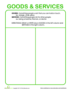 What are Goods and Services? Graphic Organizer