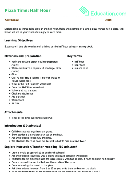 Pizza Time Half Hour Lesson Plan Education