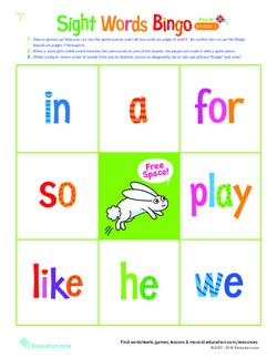 Pre-Kindergarten Sight Words Bingo