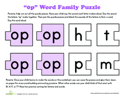 Word Family Puzzle: -OP