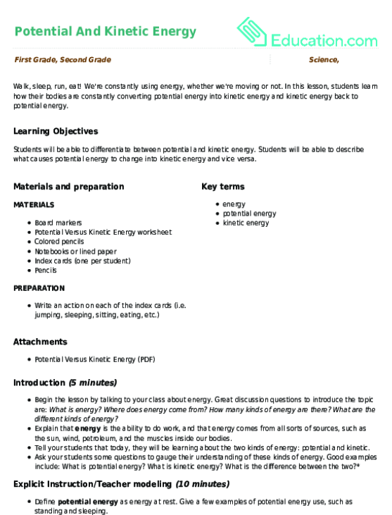 Potential And Kinetic Energy | Lesson Plan | Education.com ...