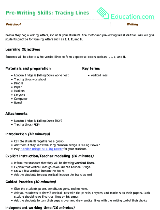 Pre Writing Skills Tracing Lines Lesson Plan Education
