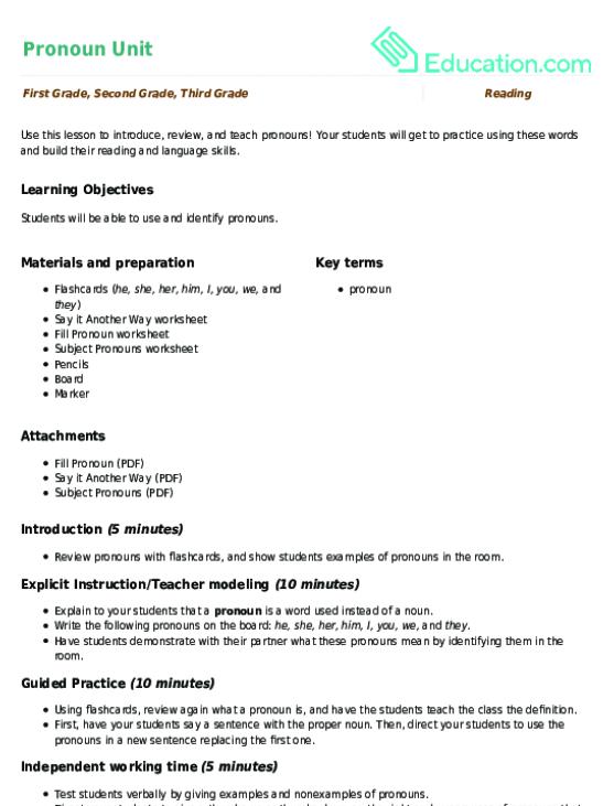 Pronoun Unit Lesson Plan – Pronoun Practice Worksheet