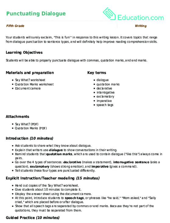 Punctuating Dialogue Lesson Plan Lesson Plan – Punctuating Dialogue Worksheet