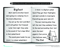 Bigfoot: Punctuate the Story