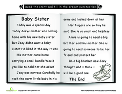 Baby Sister: Punctuate the Story