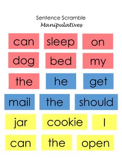 Sentence Scramble Manipulatives