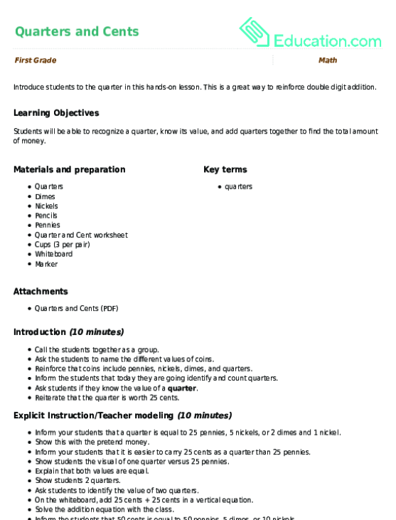 Quarters and Cents Lesson Plan – Value of Coins Worksheet