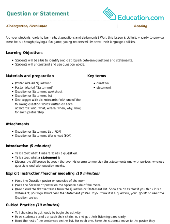 Question or Statement Worksheet – I Statement Worksheets