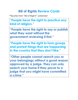 Bill of Rights Review Cards