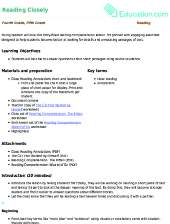4th Grade Reading Lesson Plans Education