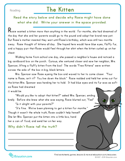 Reading Comprehension: The Kitten