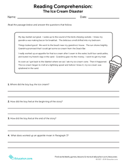 Reading Comprehension:  The Ice Cream Disaster
