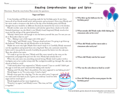 Reading Comprehension: Sugar and Spice