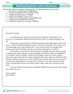 Reading Response Letter Interactive