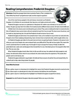 Reading Comprehension: Frederick Douglass