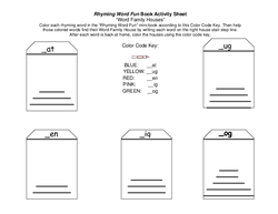Rhyming Word Fun Activity Sheet: Word Family Houses
