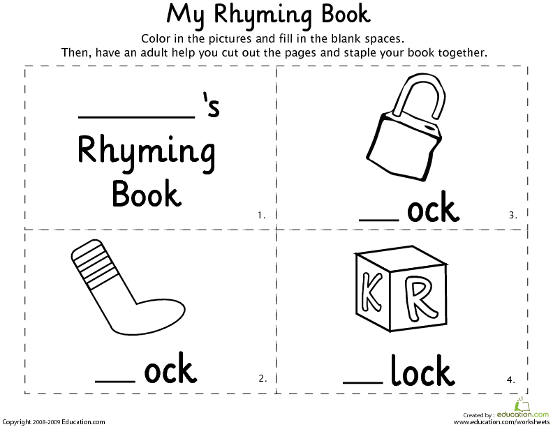 Rhyming Words for Kindergarten | Lesson Plan | Education.com