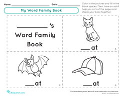 "My Word Family Book: ""At"" Words"
