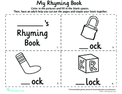 rhyming words for kindergarten my rhyming book pdf
