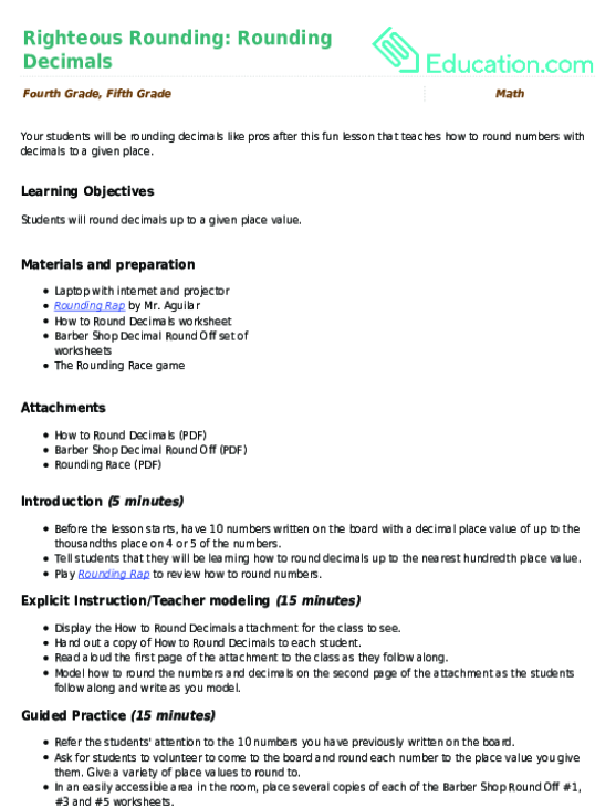 righteous rounding rounding decimals  lesson plan  educationcom related learning resources