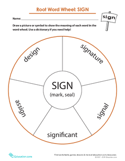 Root Word Wheel: Sign
