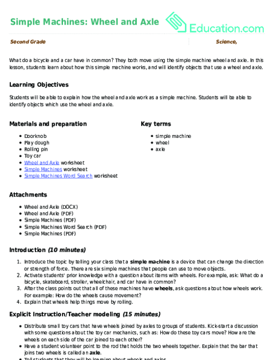 Simple Machines Worksheet – Work and Machines Worksheet