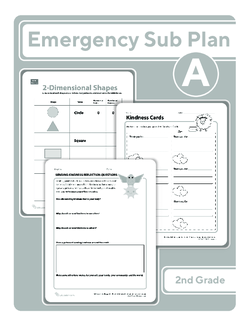 Second Grade Sub Plan (black and white): Day 2